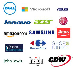 Dell, Microsoft, ASUS, Lenovo, Acer, Amazon.com, Samsung, Argos, Dixons Carphone, Carrefour, Shop Direct, John Lewis, Insight, CDW